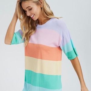 NWT RACHEAL Rainbow Striped T-shirt Dress